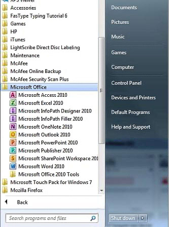 Microsoft Office 2007 submenu