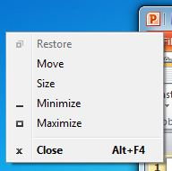 PowerPoint icon and its menu