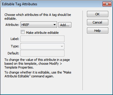 Editable Tag Attributes dialog box