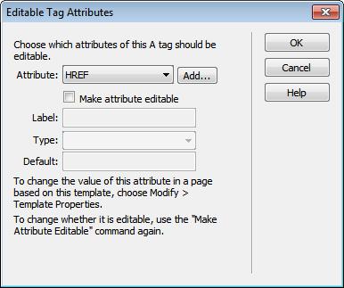 Editable Tag Attributes dialog box