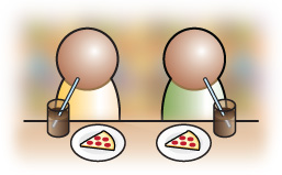 Diego and friend eating pizza